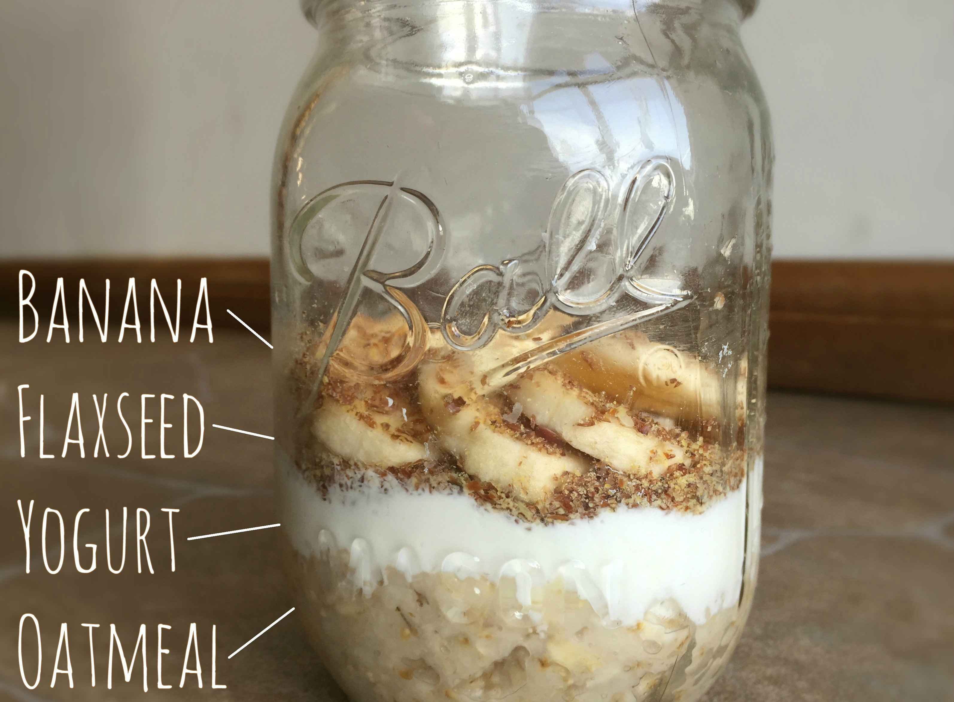 Greek yogurt mason jar glass diy protein flaxseed breakfast snack blueberry banana cinnamon
