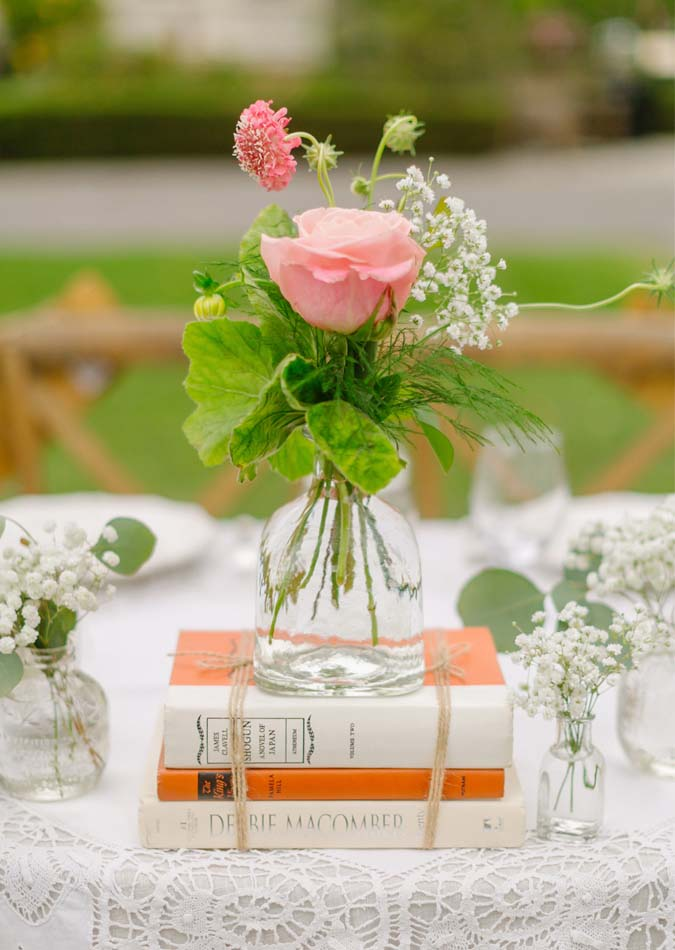 Rustic Vintage Wedding Books Centerpiece Twine Idea