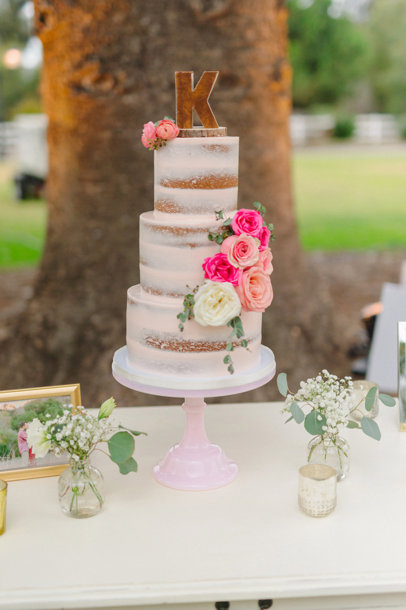 Blush,Pink,Semi-Naked,Rustic,country,Wedding,Cake